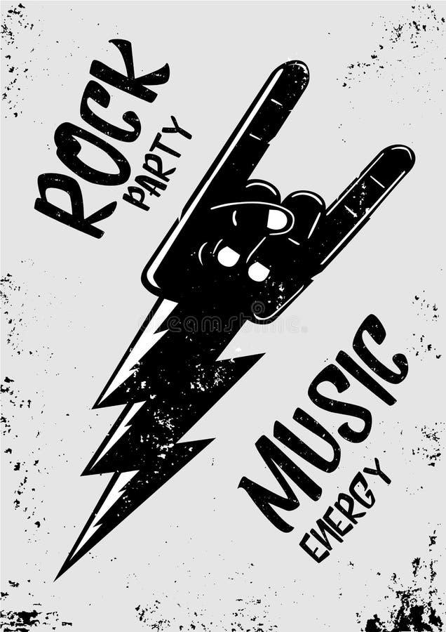 Cartaz da música rock com mão e raio Cartaz do estilo do Grunge Molde vivo do partido ilustração stock