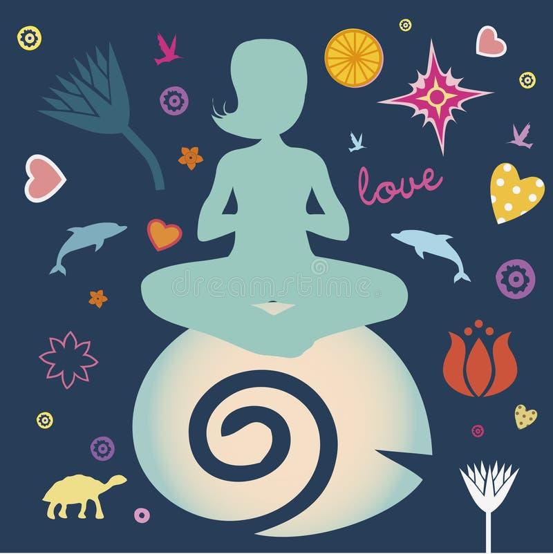 Cartaz da mola da ioga ilustração do vetor