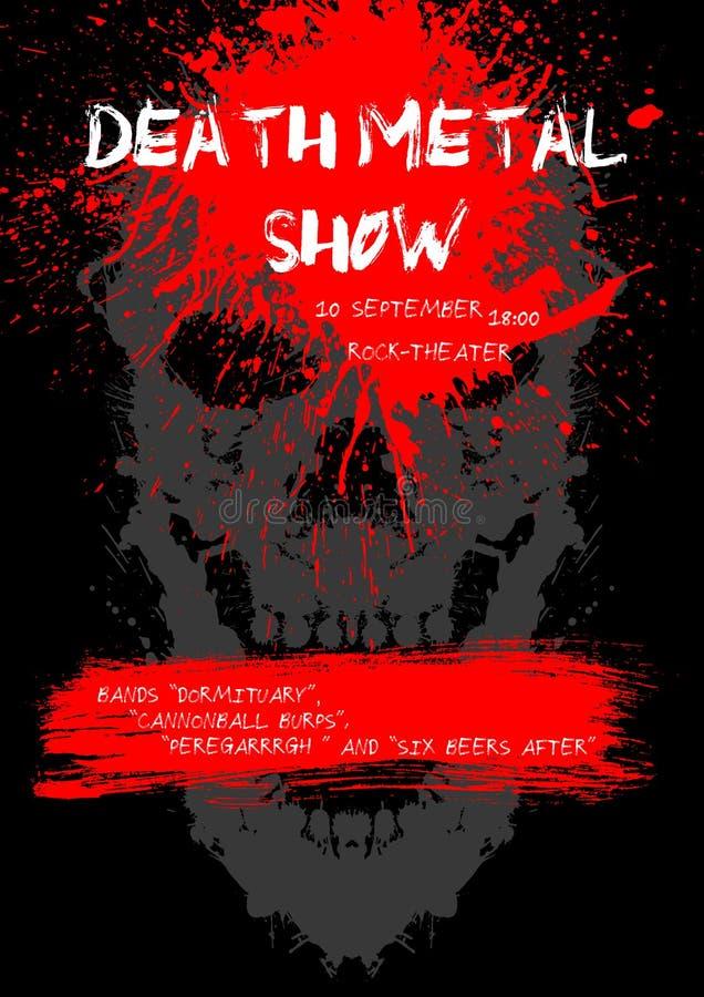 Cartaz da mostra do metal da morte com crânio ilustração stock