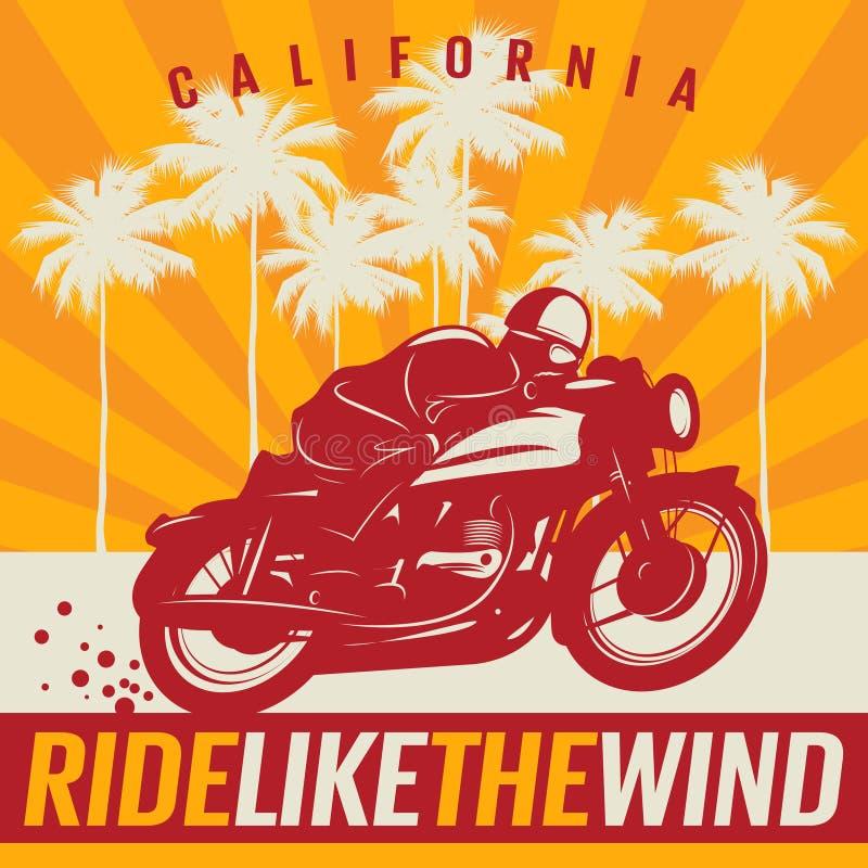 Cartaz da motocicleta com texto Califórnia, passeio como o vento ilustração do vetor