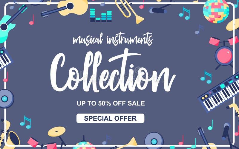 Cartaz da oferta especial com os instrumentos musicais no fundo azul cinzento Coleção musical dos intstuments com ilustração stock