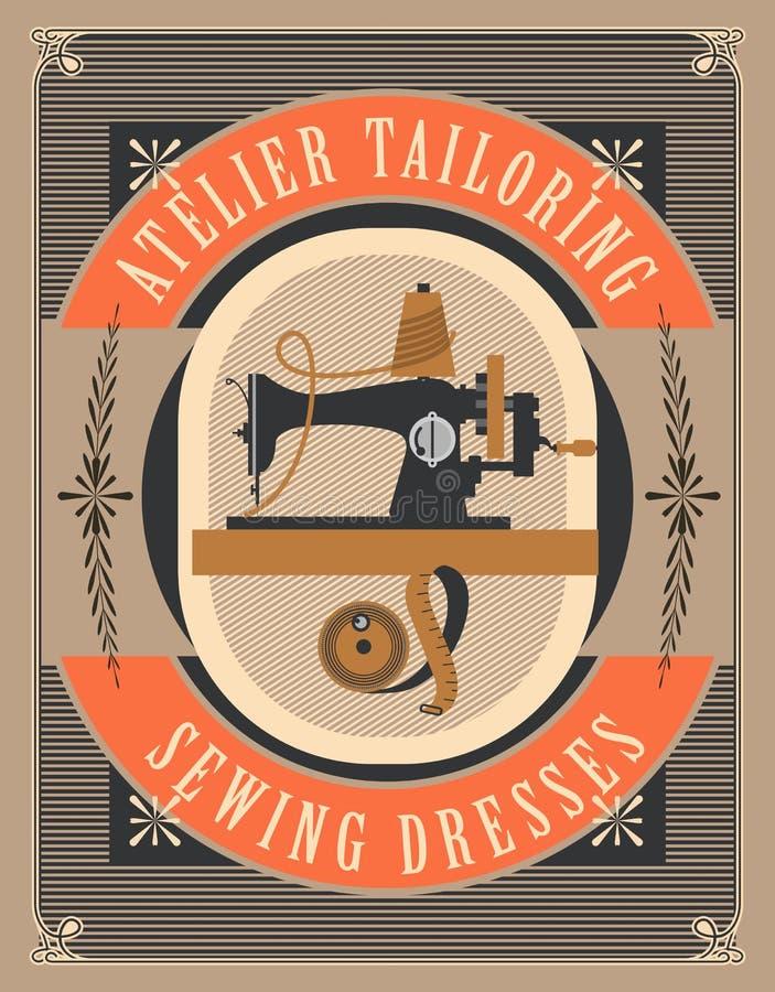 Cartaz da oficina da costura ilustração do vetor