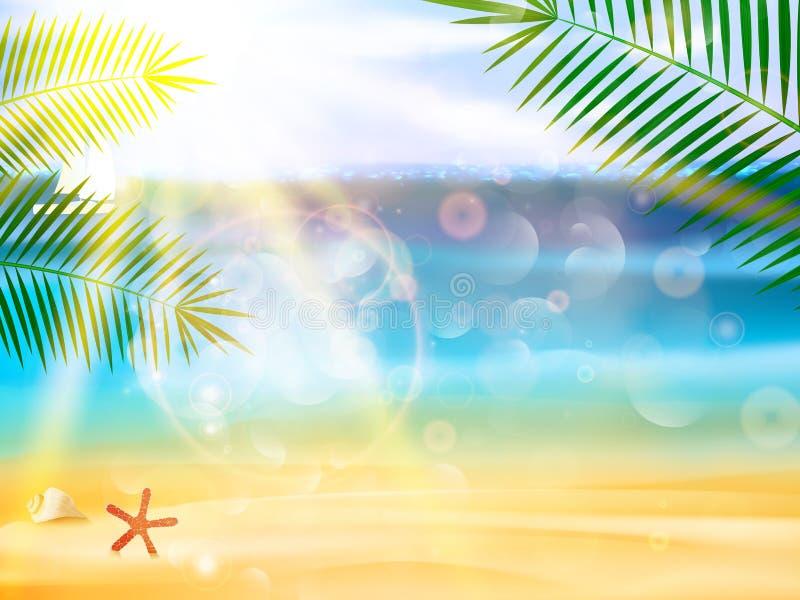 Cartaz da opinião do beira-mar. ilustração do vetor