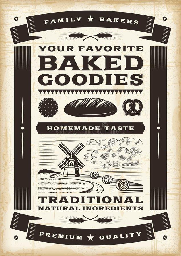 Cartaz da padaria do vintage ilustração royalty free