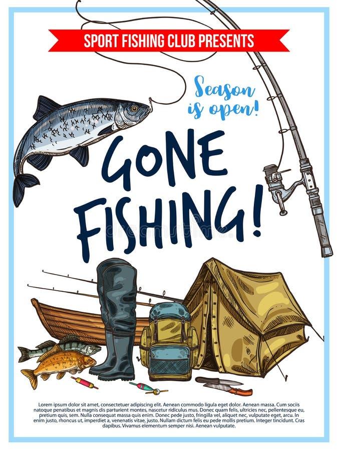 Cartaz da pesca com equipamento dos peixes e do pescador ilustração do vetor