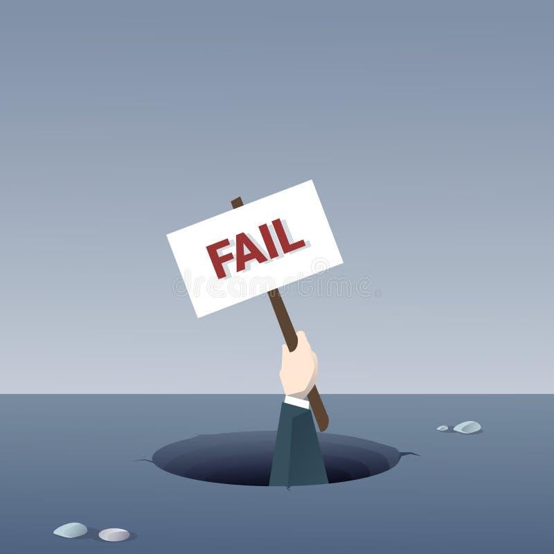 Cartaz da posse da mão do negócio do conceito de Fail Bankruptcy Crisis do homem de negócios do furo ilustração royalty free