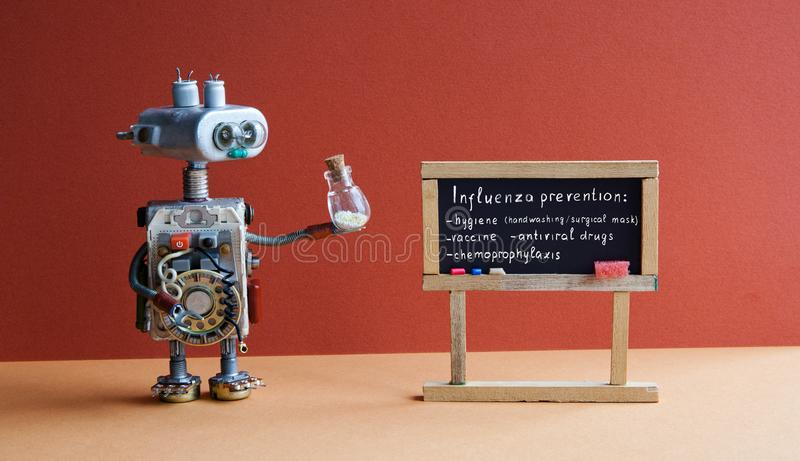 Cartaz da prevenção da gripe O doutor do robô guarda o recipiente antiviroso da droga, assuntos escritos à mão do virus da gripe  fotos de stock