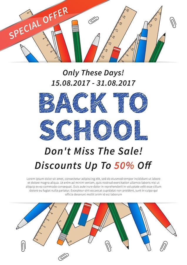 Cartaz da promoção de volta à ilustração do vetor da escola ilustração do vetor