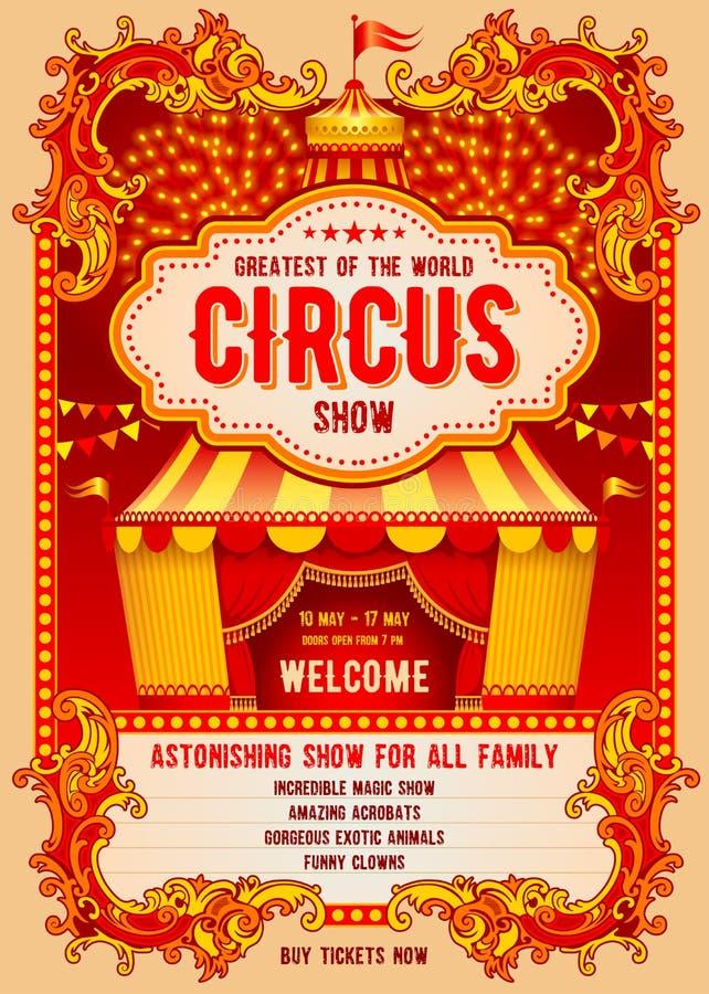 Cartaz da propaganda do circo ilustração do vetor