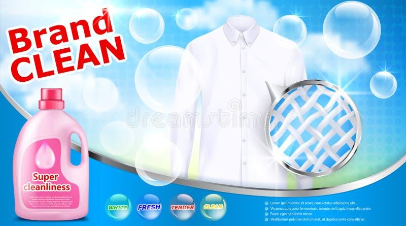 Cartaz da propaganda do detergente para a roupa ilustração royalty free