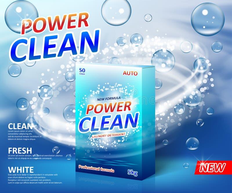 Cartaz da propaganda do detergente para a roupa do pó Molde da etiqueta do pacote da caixa da caixa do pó de lavagem com bolhas d ilustração do vetor