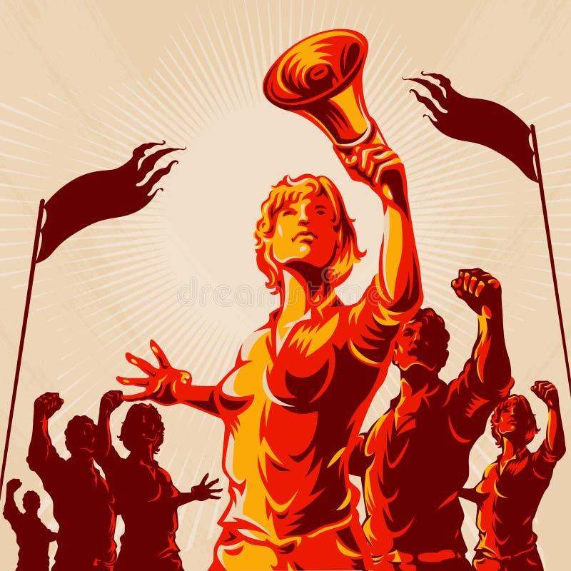 Cartaz da propaganda do punho do protesto da multidão da ligação das mulheres ilustração royalty free