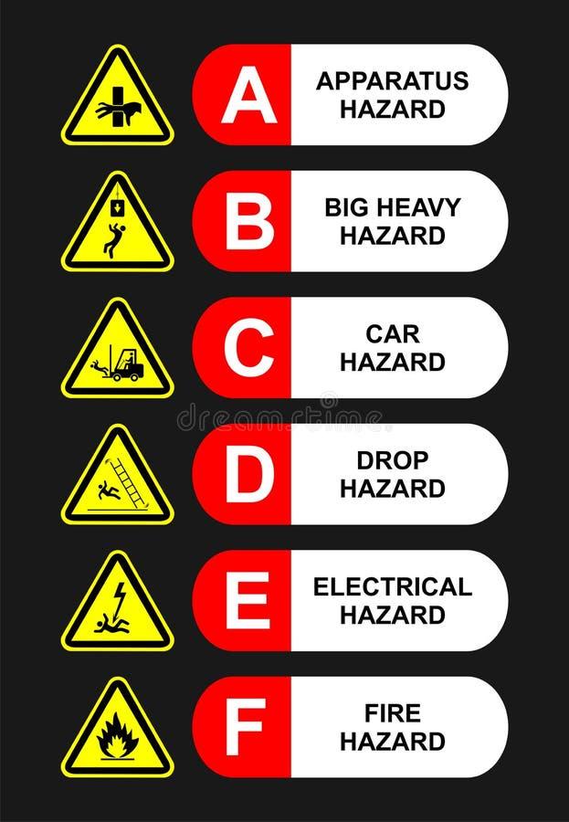 Cartaz da segurança de seis perigos na fábrica fotografia de stock