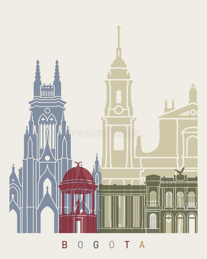 Cartaz da skyline de Bogotá ilustração do vetor