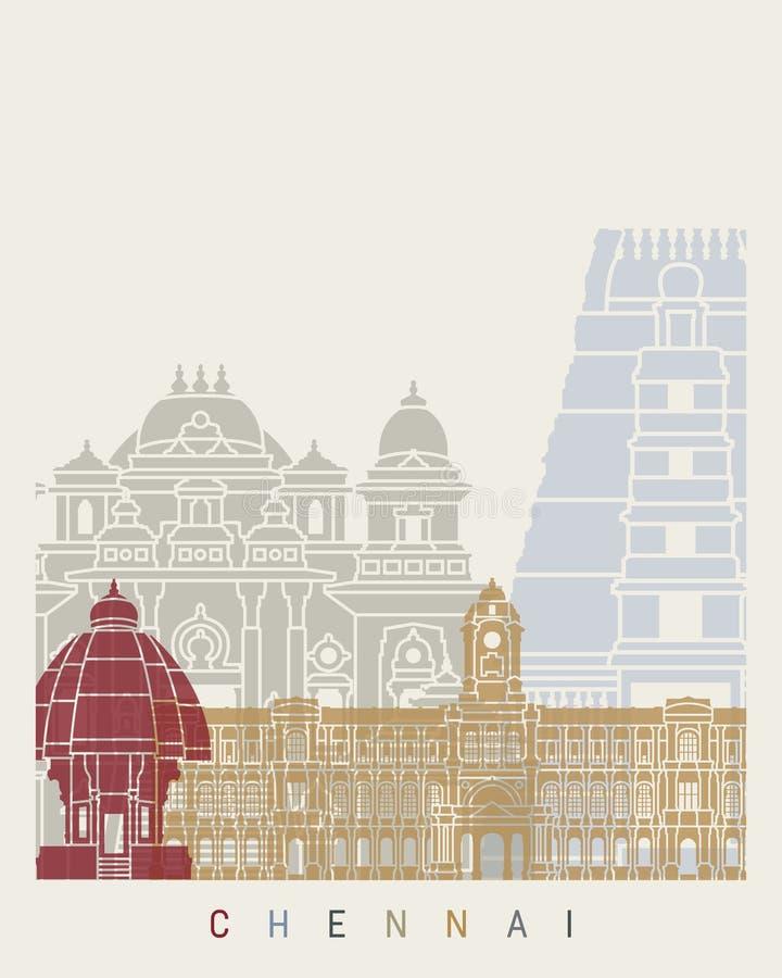 Cartaz da skyline de Chennai ilustração royalty free