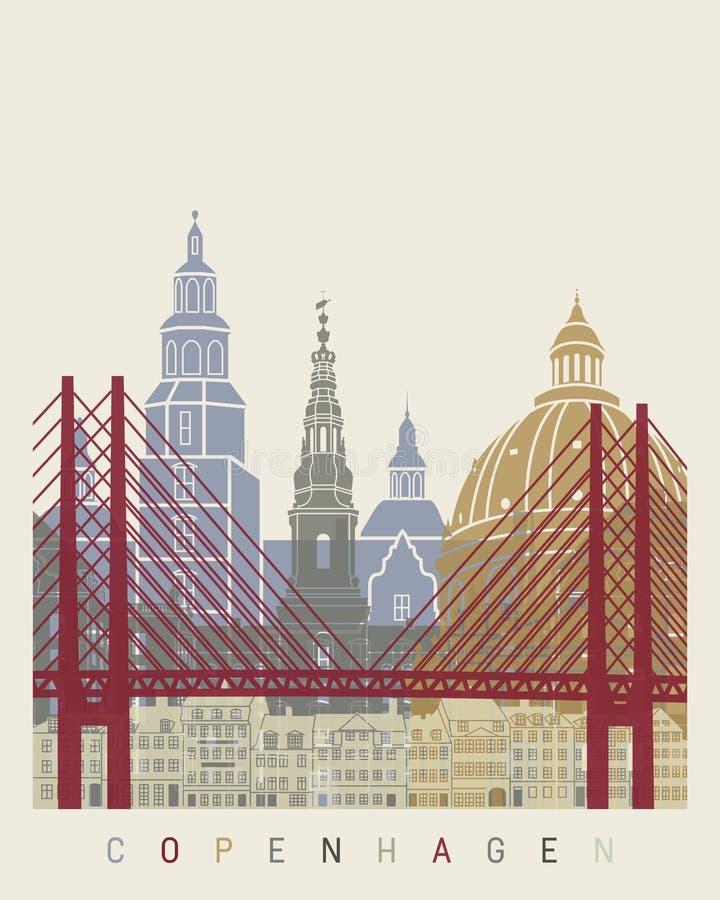 Cartaz da skyline de Copenhaga ilustração stock
