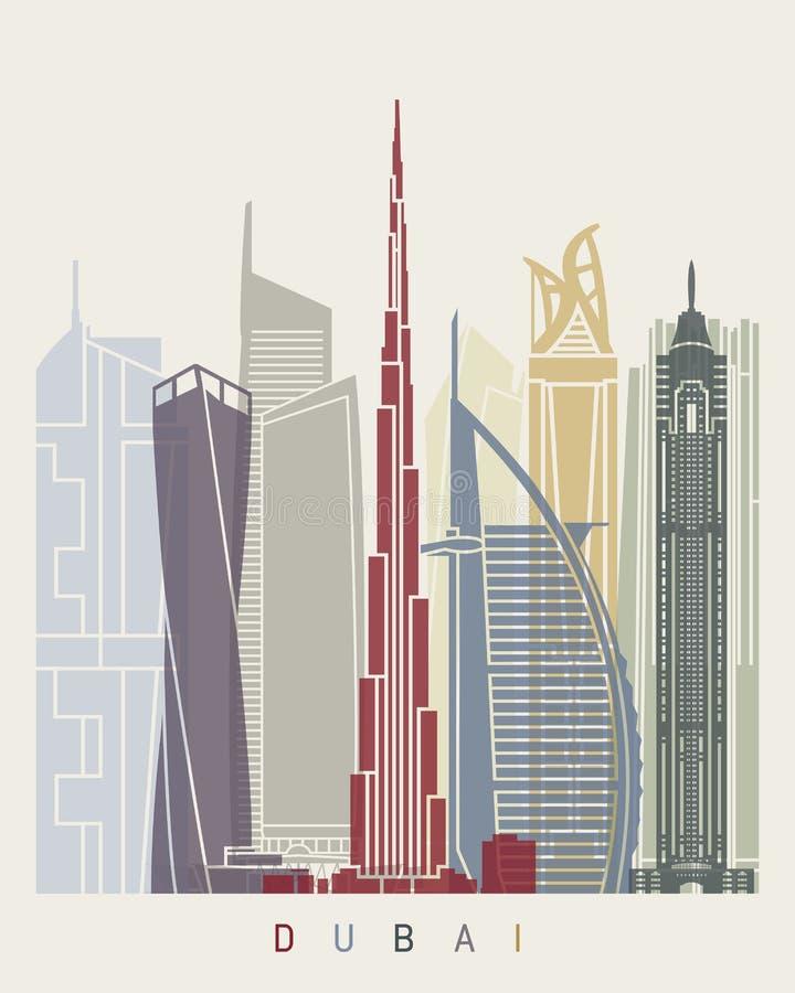 Cartaz da skyline de Dubai V2 ilustração stock