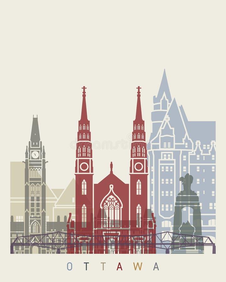 Cartaz da skyline de Ottawa ilustração stock