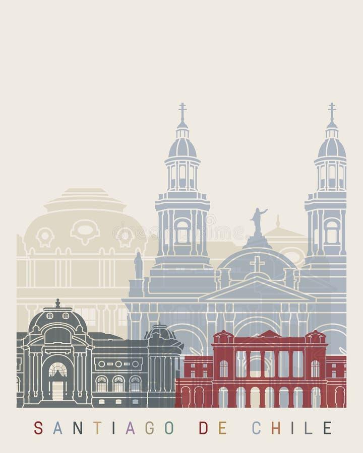 Cartaz da skyline de Santiago de Chile V2 ilustração do vetor