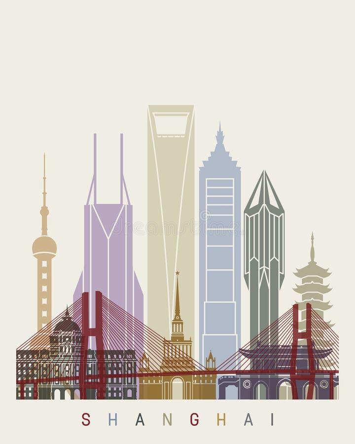 Cartaz da skyline de Shanghai V2 ilustração do vetor