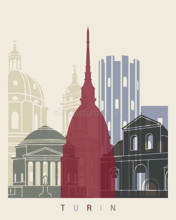 Cartaz da skyline de Turin ilustração do vetor