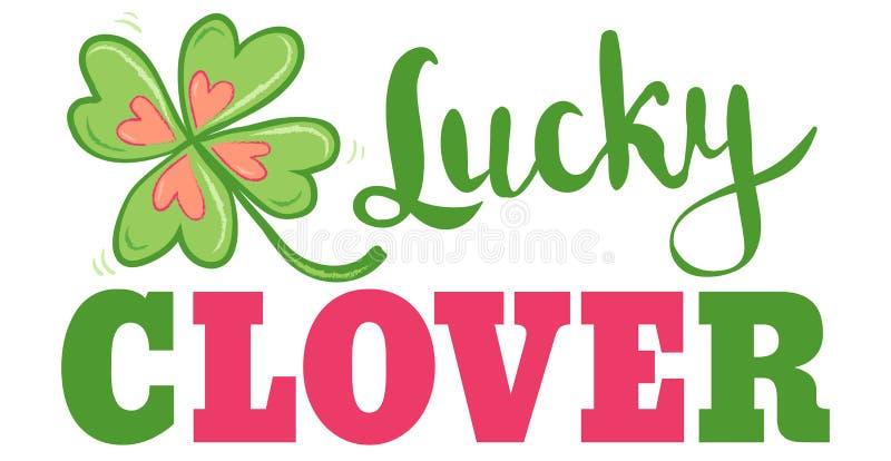 Cartaz da sorte e do amor com trevo ilustração royalty free