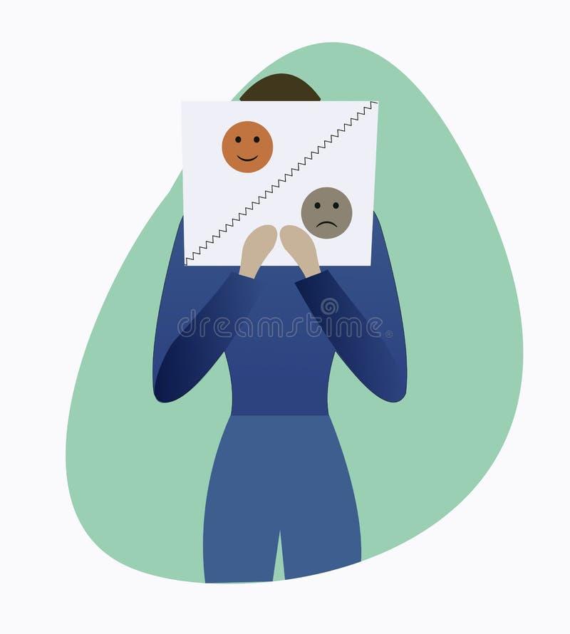 Cartaz da terra arrendada do homem com sorriso feliz e triste ilustração royalty free