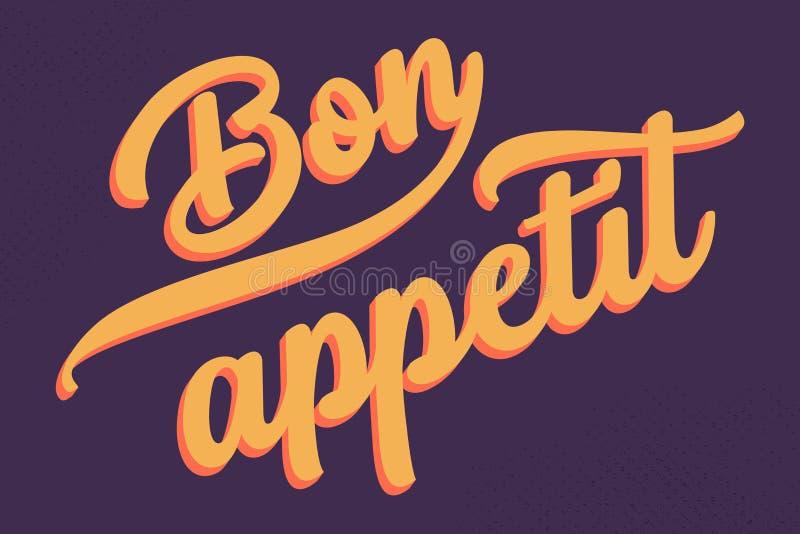 Cartaz da tipografia de Bon Appetit com rotulação agradável ilustração do vetor