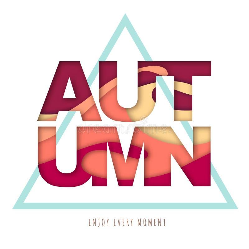 Cartaz da tipografia do outono com fundo abstrato Projeto cortado do estilo da arte do papel ilustração do vetor