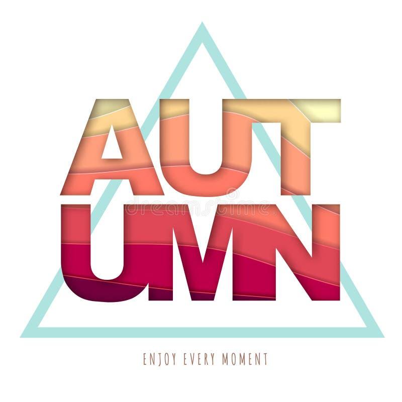 Cartaz da tipografia do outono com fundo abstrato Projeto cortado do estilo da arte do papel ilustração stock