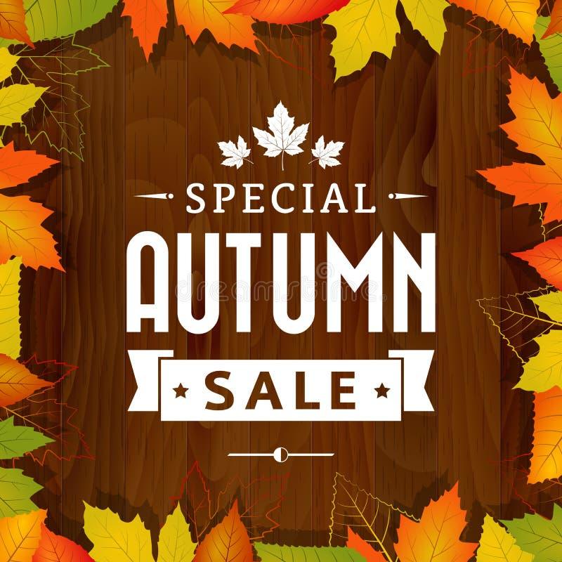 Cartaz da tipografia do vintage da venda especial do outono no fundo de madeira ilustração do vetor