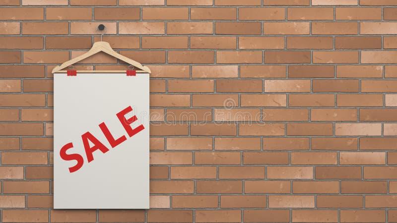 Cartaz da venda branca no gancho ilustração do vetor