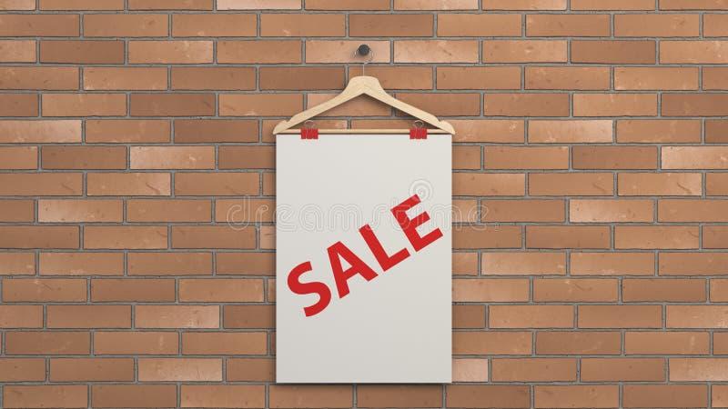 Cartaz da venda branca no gancho ilustração stock