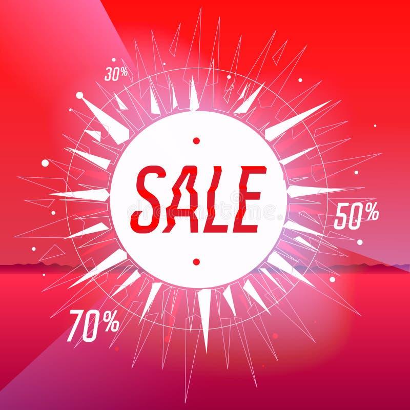 Cartaz da venda com a estrela no fundo vermelho ilustração stock