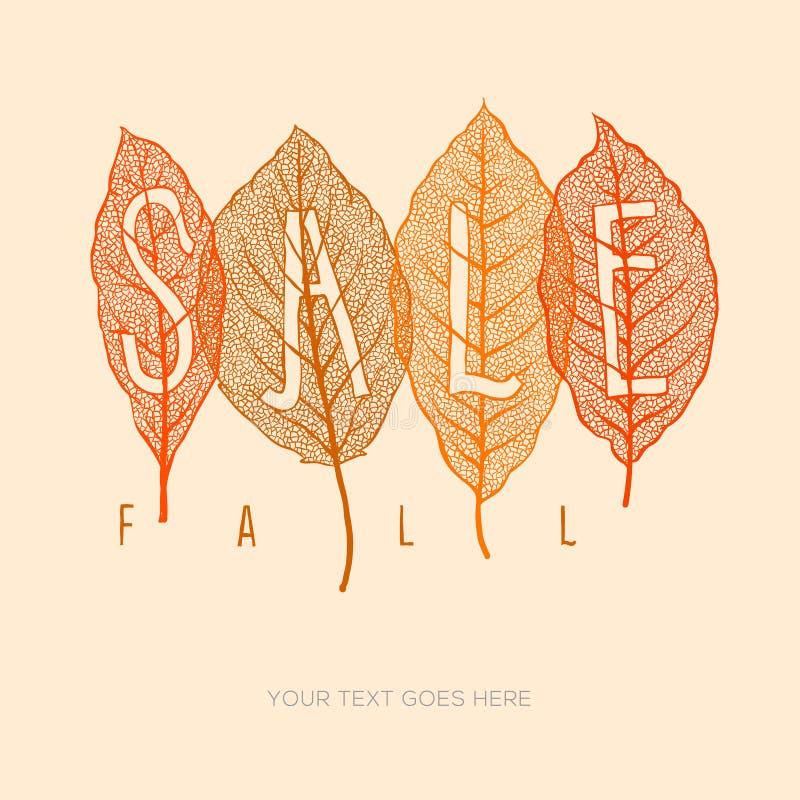 Cartaz da venda da queda com folhas secadas e texto simples ilustração stock