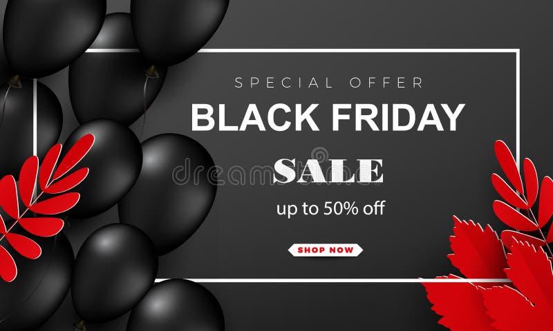 Cartaz da venda de Black Friday com balões brilhantes em um fundo escuro com um quadro quadrado e umas folhas de outono brilhante ilustração royalty free
