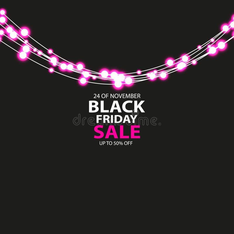 Cartaz da venda de Black Friday com brilho de ampolas vermelhas no fundo escuro Ilustração do vetor ilustração stock