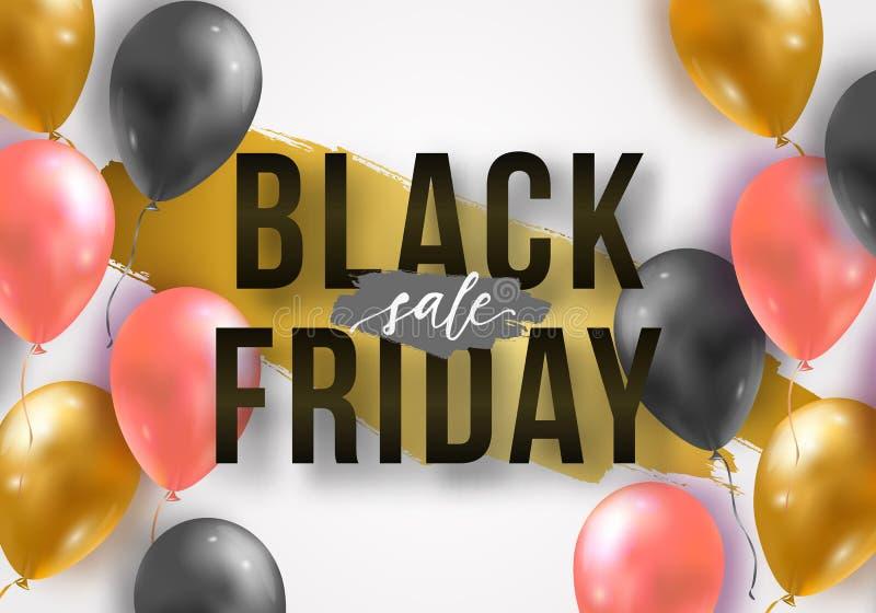 Cartaz da venda de Black Friday do vetor com os balões 3d realísticos brilhantes Molde para anunciar cartazes, bandeiras, insetos ilustração do vetor