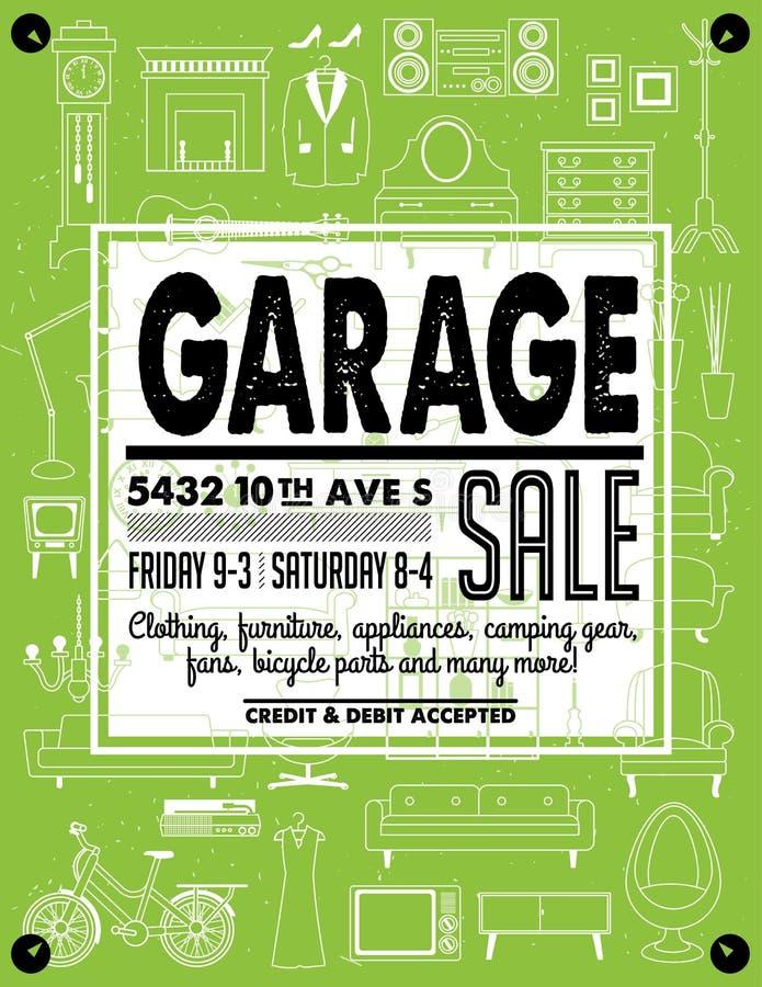 Cartaz da venda de garagem ilustração stock
