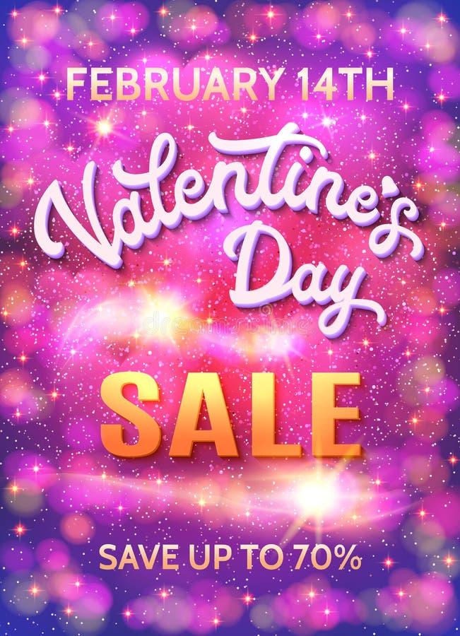Cartaz da venda do dia de Valentim no fundo abstrato ilustração stock
