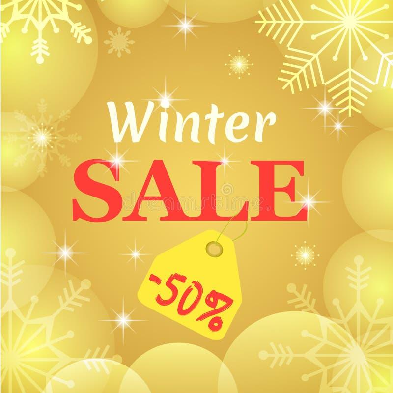 Cartaz da venda do inverno Projeto do vetor Flocos de neve e bolas transparentes do ouro Natal um o ano novo um disconto de 50 po ilustração do vetor