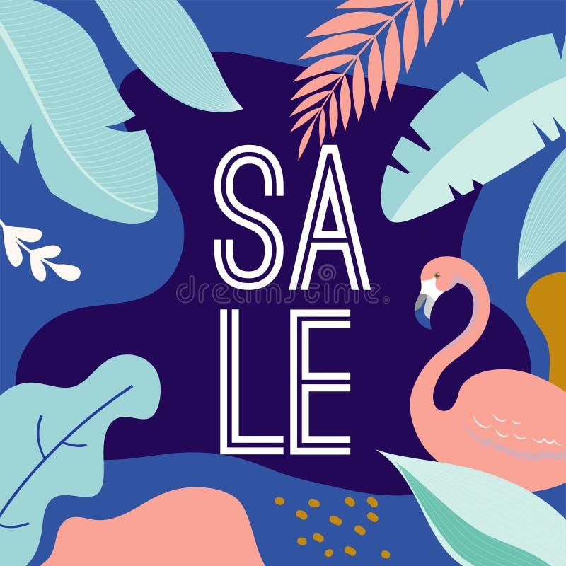 Cartaz da venda do ver?o com folhas e o flamingo tropicos, bandeira e fundo no estilo liso moderno Ilustra??o do vetor ilustração do vetor