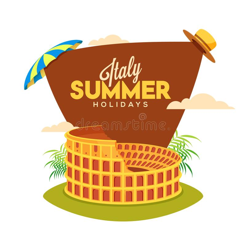 Cartaz das férias de verão de Itália com colosseum, guarda-chuva e chapéu sobre ilustração do vetor