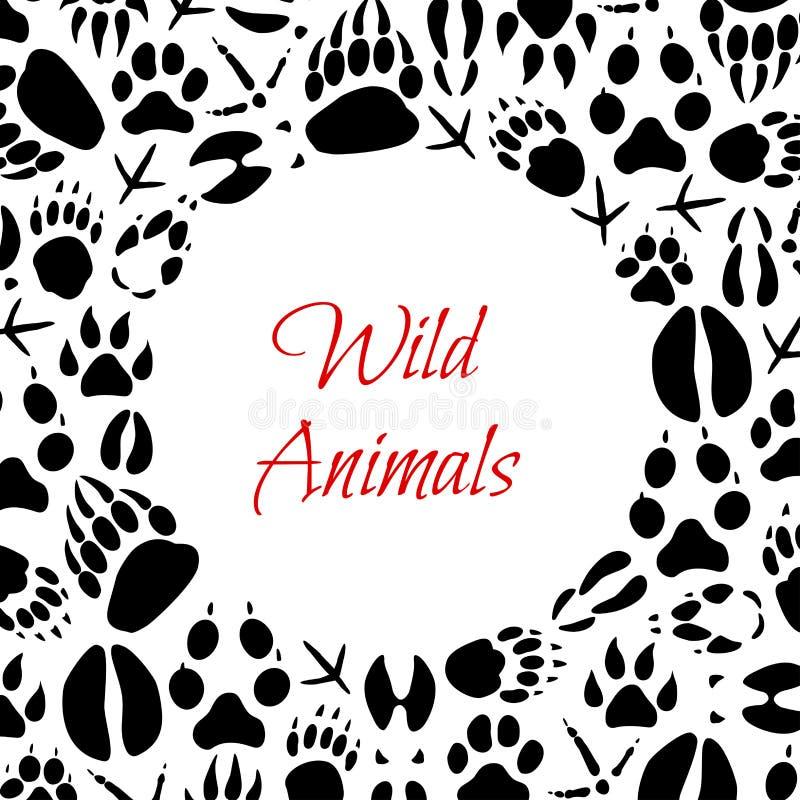 Cartaz das pegadas dos animais selvagens do vetor ilustração do vetor
