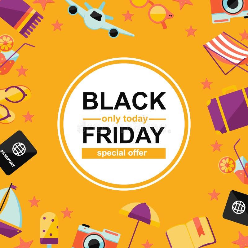 Cartaz de Black Friday com elementos do verão no fundo amarelo ilustração royalty free