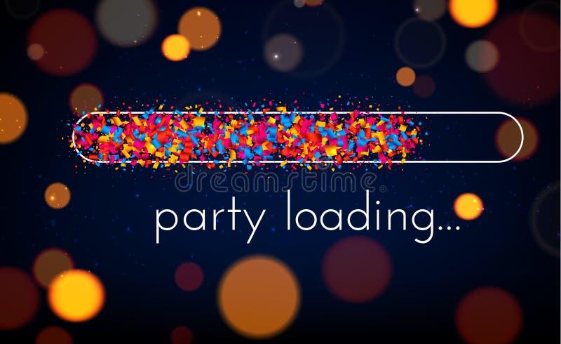 Cartaz de carregamento do partido com o indicador de progresso colorido ilustração royalty free