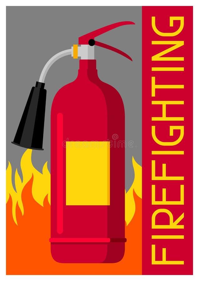 Cartaz de combate ao fogo com extintor e fogo Equipamento de proteção contra incêndios ilustração do vetor