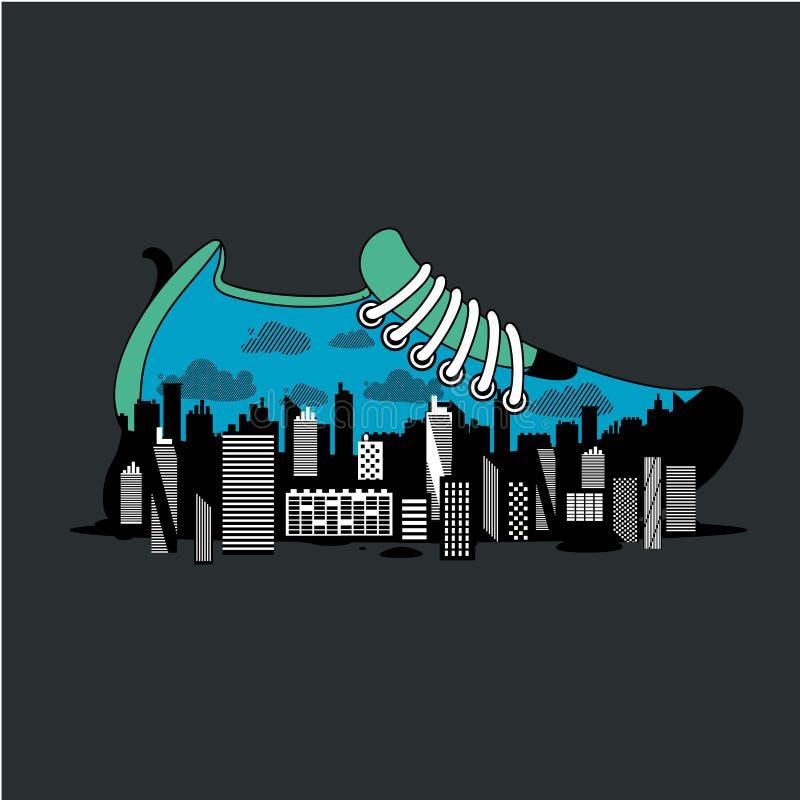 Cartaz de corrida da maratona da cidade com sapata Sapatilha para movimentar-se com interior da cidade Cartaz do esporte com ilus ilustração royalty free