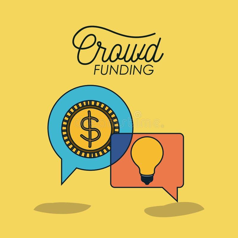 Cartaz de Crowdfunding com moeda e ampola no discurso da bolha no fundo amarelo ilustração stock