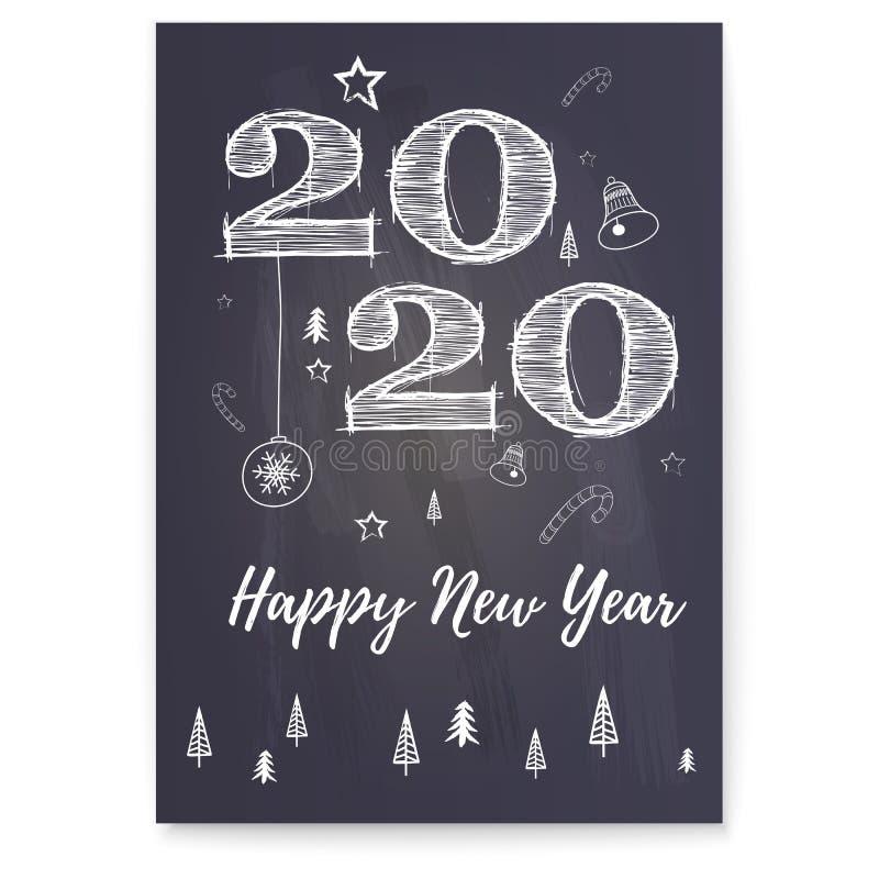 Cartaz de cumprimento do ano novo feliz 2020 Fundo festivo com árvore de Natal, doces, sinos Rotulação retro à moda para ilustração royalty free